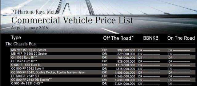 Mercedes Benz OC500RF 2542 Pricelist